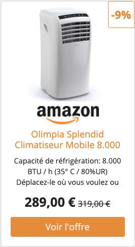 Olimpia Splendid Climatiseur Mobile 8.000 BTU/h, 2,1 kW, 01913 Dolceclima Compact 8 P, Gaz Naturel R290