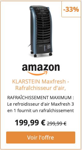 KLARSTEIN Maxfresh - Rafraîchisseur d'air, Humidificateur, Ventilateur, Refroidisseur, 55W, 444 m³/h, 4 Vitesses, 3 Modes, Minuterie jusqu'à 15h, Affichage LED, Réservoir 6L - Bleu