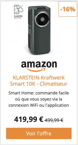 KLARSTEIN Kraftwerk Smart 10K - Climatiseur Mobile 3-en-1, Fraicheur, déshumidification et Ventilation, 10.000 BTU /2,9 KW, 440 m³/h, contrôle Via Application WiFi, Anthracite [Classe énergétique A]