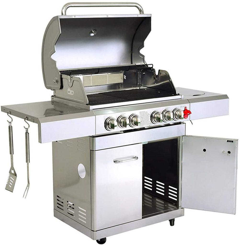 GREADEN- BBQ Grill Barbecue À Gaz INOX DÖNER- 4 BRÛLEURS+ 1 KIT RÔTISSOIRE.