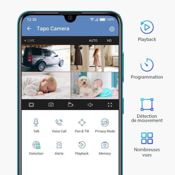 TP-Link Caméra Surveillance WiFi, Tapo camera ip 1080P sans Fil avec Vision Nocturne